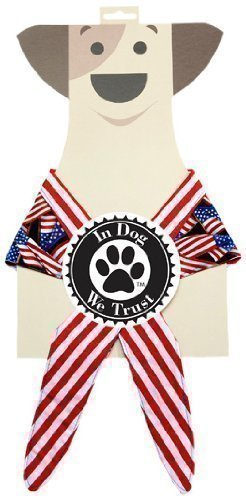 In Dog We Trust American Flag Bandana, X-Small, Black - 1