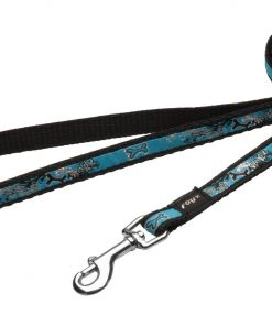 6-ft Long Fixed Dog Lead, Turquoise Chrome Design