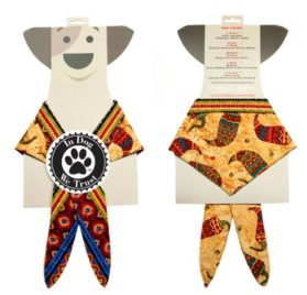 In Dog We Trust Chili Pepper Bandana, X-Small, Taupe - 2