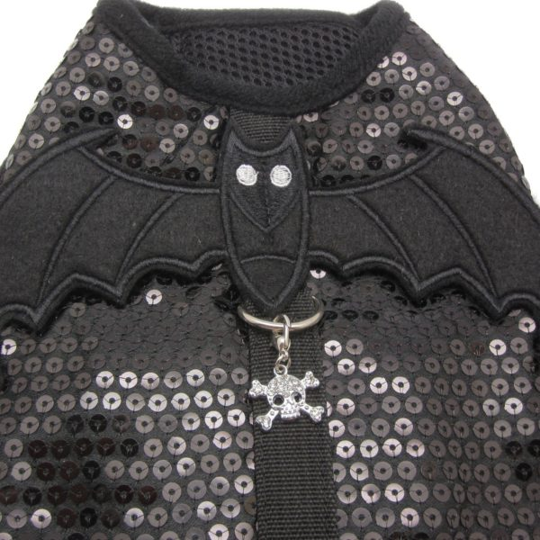 Peti Devil Wing with Skull Charm Harness and Leash Set - Color: Black 4