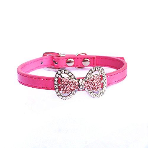 PetFavorites(TM) Couture Designer Fancy Cute Feather Bling Rhinestone Bow Tie Pet Cat Dog Collar Necklace Jewelry For Small or Medium Dogs Cats Pets Female Puppies Chihuahua Yorkie Girl Costume Outfits, Light and Adjustble Buckle.