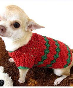 Red Green Christmas Dog Sweater Warm Cotton Puppy Clothes Pet Clothing Handmade Crochet Chihuahua Apparel Cute Dk875 Myknitt - Free Shipping - 1