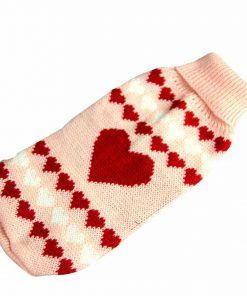 HP95(TM) Dog Clothes Pet Winter Woolen Sweater Knitwear Puppy Clothing Warm Love Heart High Collar Coat - 1