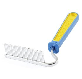 Pet Dog Doggy Trimmer Grooming Hair Comb Rake Tool Blue Yellow - 1