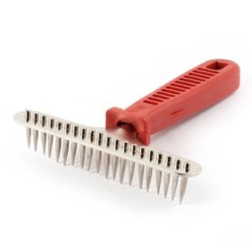 Plastic Handle Pet Dog Yorkie Massaging Grooming Tool Brush Rake Red - 1