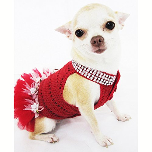 Fancy Queen Red Tutu Dog Dress Fancy Bling Bling Pet Apparel