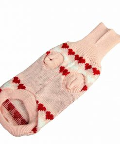 HP95(TM) Dog Clothes Pet Winter Woolen Sweater Knitwear Puppy Clothing Warm Love Heart High Collar Coat - 2