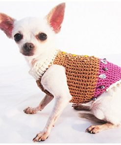 Vintage Classic Dog Harness Fancy Bling-bling Crystal Beads Pet Sweaters Handmade Knit Chihuahua Clothes Puppy Costume Small Medium Big Dogs Df26 By Myknitt - Free Shipping - 2