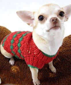 Red Green Christmas Dog Sweater Warm Cotton Puppy Clothes Pet Clothing Handmade Crochet Chihuahua Apparel Cute Dk875 Myknitt - Free Shipping - 2