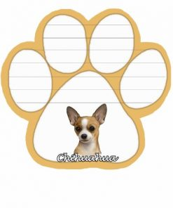 Chihuahua Notepad With Unique Die Cut Paw Shaped Sticky Notes 50 Sheets Measuring 5 by 4.7