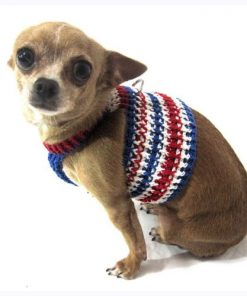 Myknitt Handmade Knit Pet Harnesses July 4th USA Independence Dog Harness
