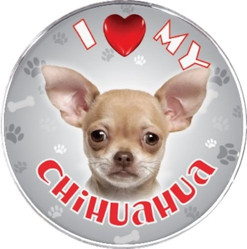 iLeesh i Love My Chihuahua Reflective Decal, Cream Short Haired