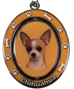"Chihuahua Key Chain ""Spinning Pet Key Chains""Double Sided Spinning Center With Chihuahuas Face Made Of Heavy Quality Metal Unique Stylish Chihuahua Gifts"