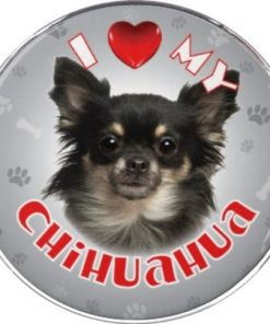 iLeesh I Love My Chihuahua Reflective Decal, Black Long Haired