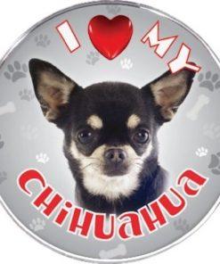 iLeesh I Love My Chihuahua Reflective Decal, Black Short Haired