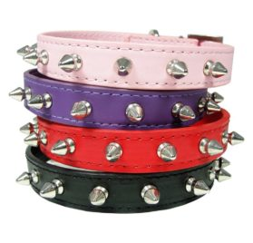 Matte PU Leather Silver Spike Spiked Protective Adjustable Pet Dog Cat Collar