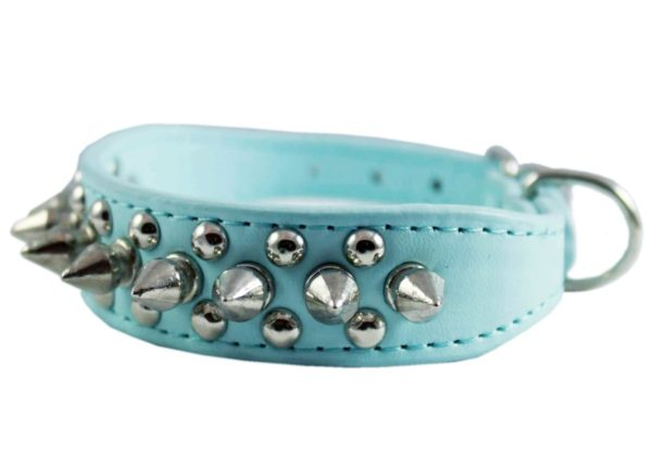 """8""""-10"""" Cyan Faux Leather Spiked Studded Dog Collar"""