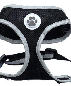 Reflective Mesh Soft Dog Harness Black