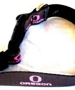 Oregon Ducks Pink Oregon and O on Grey Dog Collar