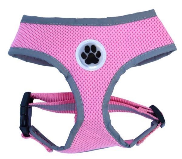 Reflective Mesh Soft Dog Harness Pink