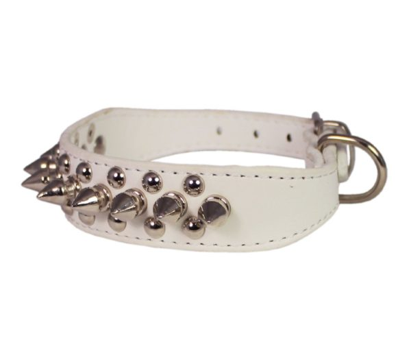 "8""-10"" White Faux Leather Spiked Studded Dog Collar 2"