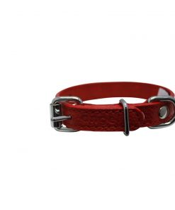 "Rhinestones Bling Leather Dog Collar, Padded, Double-Ply, Riveted Settings, 10"" x 1/2"", Red 2"