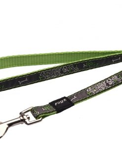 6-ft Long Fixed Dog Lead, Lime Bone Design
