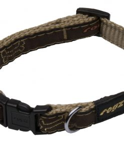 Rogz Fancy Dress Small 3/8-Inch Jellybean Dog Collar, Bronze Bone Design