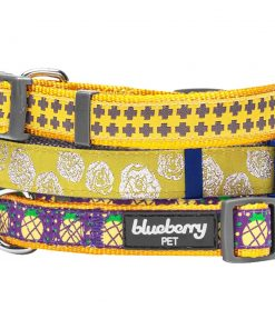 Blueberry Pet Gold Cross Yumy Pineapple and Silver Tinsel Roses Pattern Dog Collar