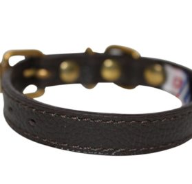 """Leather Dog Collar, Padded, 10"""" x 1/2"""", Brown"""