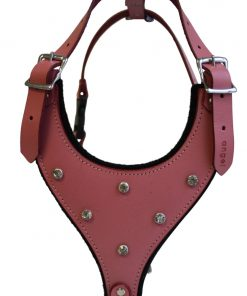 Leather Rhinestones Bling Dog Harness, X Small, Pink