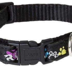 Rogz Fancy Dress Small 3/8-Inch Jellybean Dog Collar, Paint Paw Design