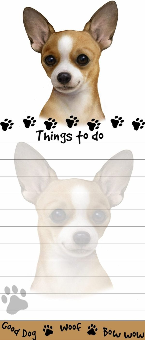 """Chihuahua Magnetic List Pads"" Uniquely Shaped Sticky Notepad"