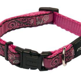 Rogz Fancy Dress Small 3/8-Inch Jellybean Dog Collar, Pink Bone Design