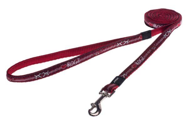 Rogz Stylish Fancy Dress Jellybean Fixed Long Dog Lead, Small, Red Heart Design
