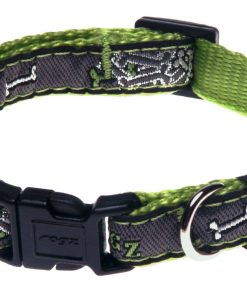 Rogz Fancy Dress Small 3/8-Inch Jellybean Dog Collar, Lime Bone Design