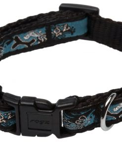 Rogz Fancy Dress Small 3/8-Inch Jellybean Dog Collar, Turquoise Chrome Design