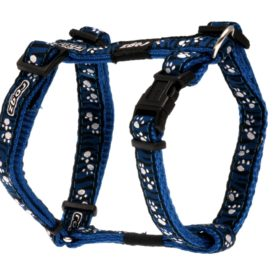 Rogz Dog H-Harness Paws on Blue