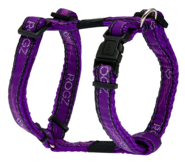 Rogz Fancy Dress Small 3/8-Inch Jellybean Adjustable Dog H-Harness, Purple Chrome Design