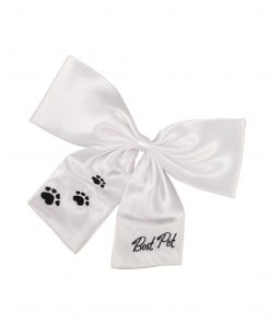 Weddingstar Best Pet Wedding Bow, White with Black Embroidery
