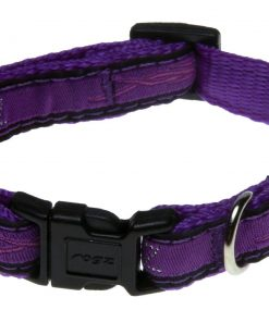 Rogz Fancy Dress Small 3/8-Inch Jellybean Dog Collar, Purple Chrome Design
