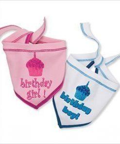 "Birthday Scarf for Boy Dogs - White w/ Blue for Boys - LG (15"" - 20"" neck) - 2"