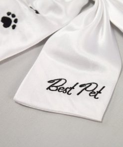Weddingstar Best Pet Wedding Bow, White with Black Embroidery 2