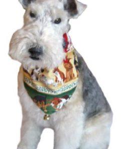"Xmas Puppies Bandana (S) Ties on 9"" - 10"" neck - 3"
