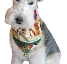 "Xmas Puppies Bandana (S) Ties on 9"" - 10"" neck - 3"