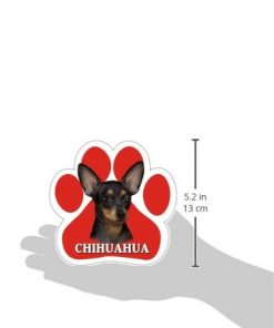 Chihuahua, Black Car Magnet With Unique Paw Shaped Design Measures 5.2 by 5.2 Inches Covered In UV Gloss For Weather Protection 2