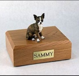 Chihuahua Dog, Pet Cremation Urn - Brindle Chihuahua Figurine on Traditional, Small Sized, Oak Wood Urn