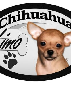 "Chihuahua ""Limo"" Oval Dog Magnet for Cars and such"