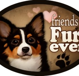 "Chihuahua (black and tan) - ""Friends Fur-ever"" Oval Dog Magnet for Cars and Fridges"