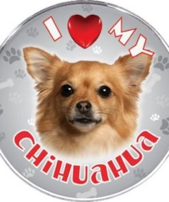 iLeesh I Love My Chihuahua Reflective Decal, Brown Long Haired